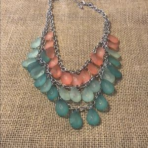 Mint and coral necklace!! Silver